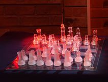 Glass chess set Royalty Free Stock Photography