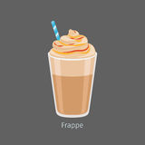 Glass of Chilled Frappe Coffee Drink Flat Vector. Glass of chilled frappe with straw flat vector. Cold invigorating drink with caffeine. Cooled coffee with royalty free illustration