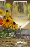 Glass of chilled white wine Stock Photos
