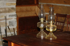 Glass Chimney Oil Lamp in Pioneer House Brick Fireplace Royalty Free Stock Photo