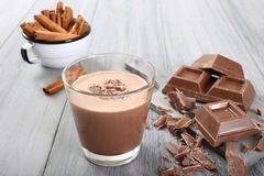 Glass with Chocolate drink Stock Image