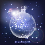 Glass christmas ball on blue background Stock Photo