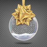 Glass Christmas Ball Vector. Realistic Sphere. Shiny Xmas Tree Toy With Snowflake And Golden Bow.  On. Glass Christmas Ball Vector. Realistic Sphere. Shiny Xmas Royalty Free Stock Image
