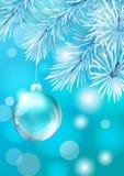 Glass Christmas ball on white tree backdrop Stock Photo