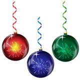 Glass Christmas balls. With decorative elements in the form of firework on a white background Royalty Free Stock Image