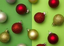 Glass Christmas Balls. On a Green Background Stock Photos