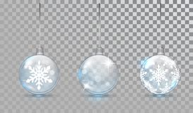 Free Glass Christmas Balls Set With Snowflake Pattern On A Transparent Background. New Year Bauble For Design. Christmas Stock Images - 160735884