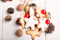 Glass of Christmas cookies Stock Images
