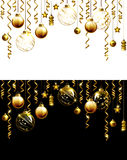 Glass Christmas evening balls on a black and white background. New year gold decorations with garlands. Objects for any background design stock illustration