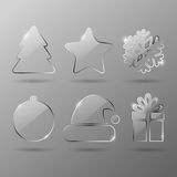 Glass christmas icons vector illustration