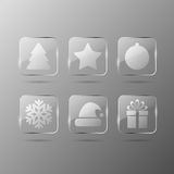 Glass christmas icons Royalty Free Stock Photography