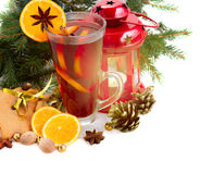 Glass of christmas mulled wine Royalty Free Stock Photo