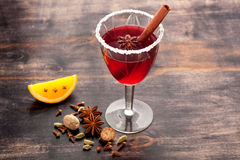 Glass Christmas Mulled Wine.  horizontal Royalty Free Stock Photo