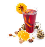 Glass of christmas mulled wine Royalty Free Stock Images
