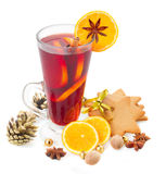 Glass of christmas mulled wine Stock Images