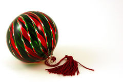 Glass Christmas Ornament. Closeup of a red and green Christmas ornament Stock Photos