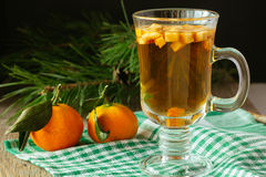 Glass of christmas punch with fruits and tangerines Stock Image