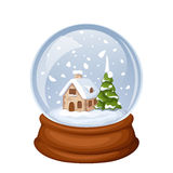 Glass Christmas snow globe with house and fir-tree. Vector illustration. Stock Photography