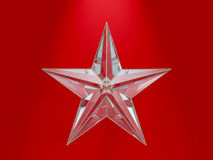 Glass Christmas Star isolated on red Background. 3D Royalty Free Stock Photos