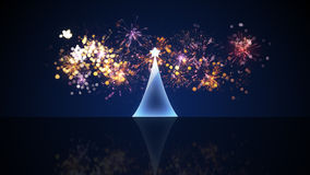 Glass christmas tree and fireworks. Computer generated festive illustration Royalty Free Stock Images
