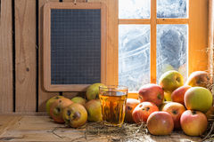 Glass of cider with apples Stock Image
