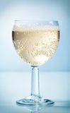Glass of cider. On a blue background stock image