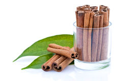 Glass of cinnamon sticks Stock Photography