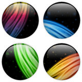 Glass Circle Button Colorful Neon Waves Royalty Free Stock Image