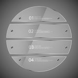Glass circle divided to four separate parts on grey Stock Image