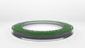 Glass cirkel med gräs på vit bakgrund med skugga och caustics Arkivbild