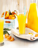 Glass of Citrus juice and fresh oranges and mandarines Royalty Free Stock Images