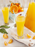 Glass of Citrus juice and oranges and mandarines Royalty Free Stock Image