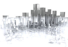 Glass city. Abstract 3d illustration of glass city over white background royalty free illustration