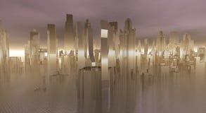 Glass city. Abstract, alien technology stock illustration