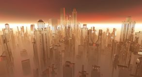 Glass city. Abstract, alien technology royalty free illustration