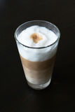 Glass with classic latte coffee Royalty Free Stock Photos