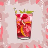 Glass with classic strawberry lemonade - beautiful vector illustration of slices of lemon , strawberries, mint,ice cubes stock illustration