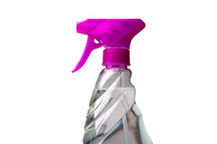 Glass Cleaner. Closeup of spray bottle of transparent glass cleaner isolated on white Stock Photo