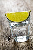 Glass of clear alcohol Royalty Free Stock Image