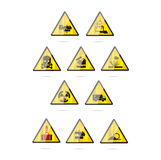 Glass and clear danger symbols set Royalty Free Stock Images