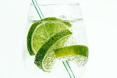 Glass with clear liquid and limes Royalty Free Stock Photo