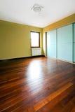 Glass closet room. Big closet with glass doors in empty room stock images