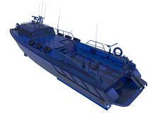 Glass coast guard boat. 3D rendered illustration of a blue glass see trough coast guard boat. The boat is isolated on a white background with no shadows Stock Photography