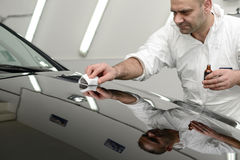 Glass coating. Black car polish shine restoring the protective coating stock images