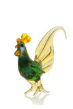 Glass cock. Glass figure of the cock on a white background Stock Image
