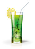 A glass with a cocktail and ice. Detailed vector illustration. The vector original glass and liquid is transparent stock illustration