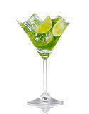 Glass of cocktail with lime and mint Stock Photo