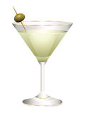 Glass with a cocktail and olives. Stock Photo