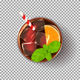 Glass of cocktail  on transparent backdrop Royalty Free Stock Photos