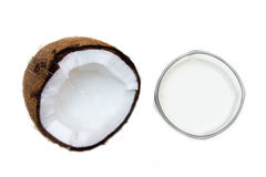 Glass with coconut milk from above Royalty Free Stock Photos